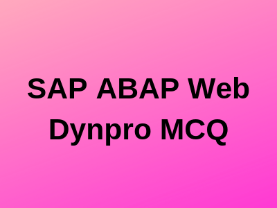 SAP ABAP Web Dynpro
